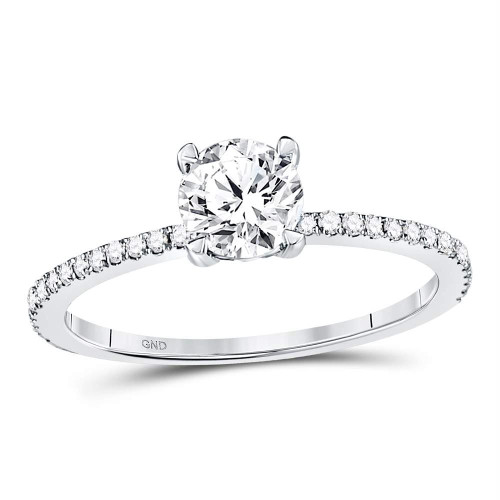 14kt White Gold Womens Round Diamond Solitaire Bridal Wedding Engagement Ring 1.00 Cttw - 121012
