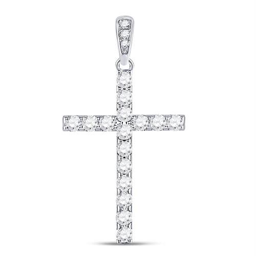 14kt White Gold Womens Round Diamond Cross Faith Pendant 1/4 Cttw