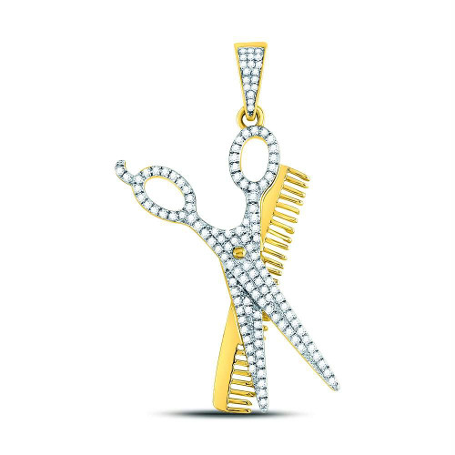 10kt Yellow Gold Mens Round Diamond Scissors Comb Barber Charm Pendant 3/4 Cttw