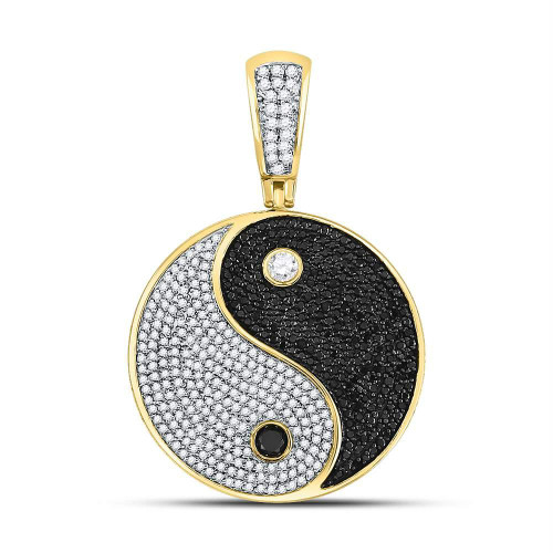 10kt Yellow Gold Mens Round Black Color Enhanced Diamond Yin Yang Charm Pendant 1-3/4 Cttw