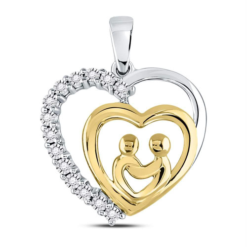 10kt Two-tone Gold Womens Round Diamond Mom Mother Child Heart Pendant 1/20 Cttw