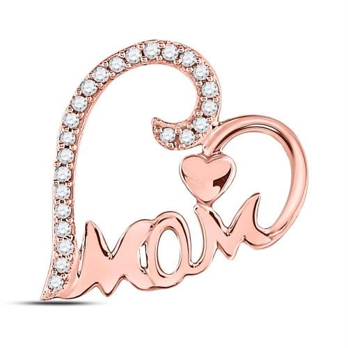 10kt Rose Gold Womens Round Diamond Mom Mother Heart Pendant 1/8 Cttw