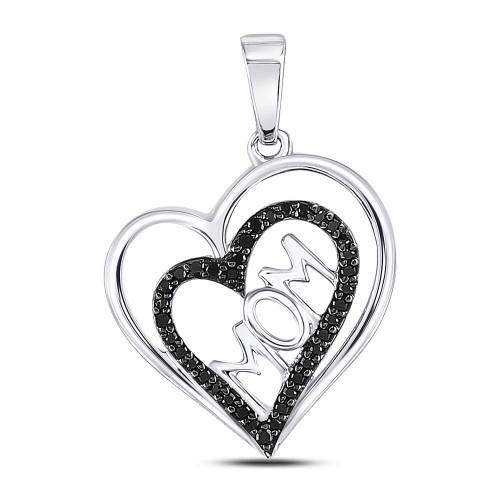 10kt White Gold Womens Round Black Color Enhanced Diamond Mom Mother Heart Pendant 1/8 Cttw