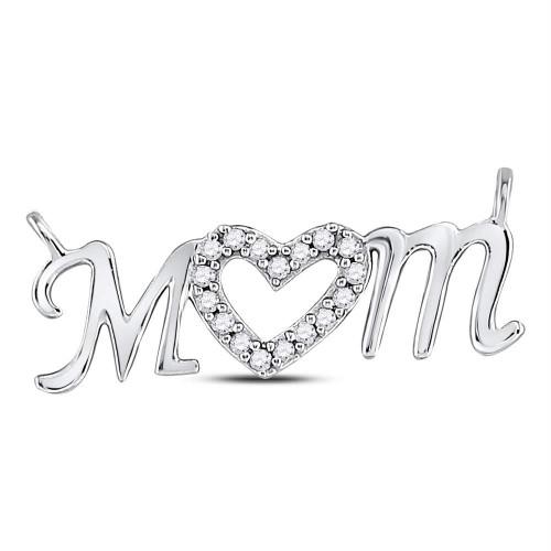 10kt White Gold Womens Round Diamond Mom Mother Heart Pendant 1/10 Cttw - 125020