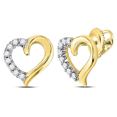 10kt Yellow Gold Womens Round Diamond Heart Stud Earrings 1/10 Cttw - 125011