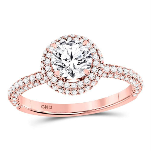14kt Rose Gold Womens Round Diamond Solitaire Bridal Wedding Engagement Ring 1-3/4 Cttw