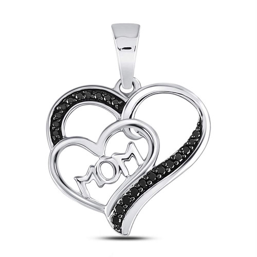 Sterling Silver Womens Round Black Color Enhanced Diamond Mom Mother Heart Pendant 1/10 Cttw - 125158