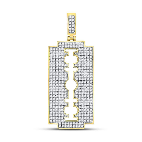 10kt Yellow Gold Mens Round Diamond Razor Blade Charm Pendant 1.00 Cttw