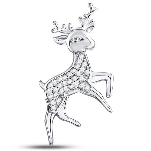 Sterling Silver Womens Round Diamond Rudolph Reindeer Animal Pendant 1/6 Cttw