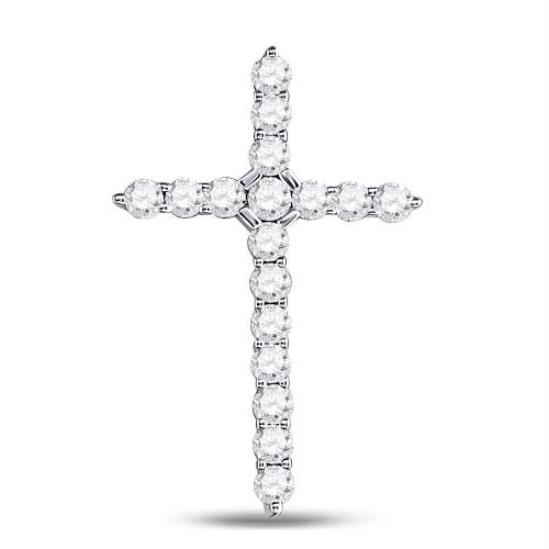 14kt White Gold Womens Round Diamond Roman Cross Pendant 1/2 Cttw