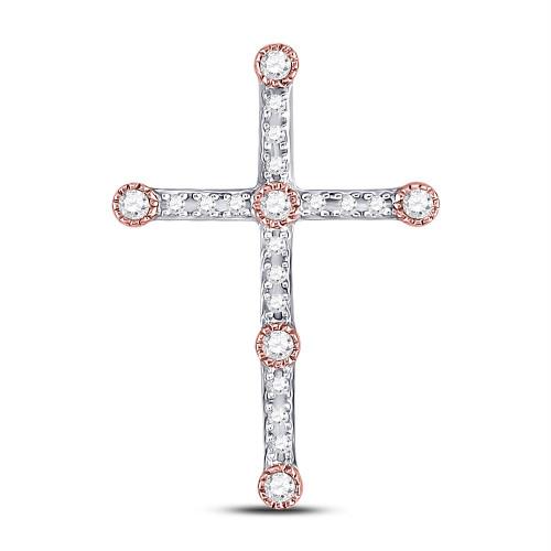 10kt Two-tone Gold Womens Round Diamond Cross Faith Pendant 1/4 Cttw