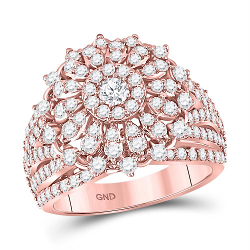 14kt Rose Gold Womens Round Diamond Solitaire Bridal Wedding Engagement Ring 2.00 Cttw