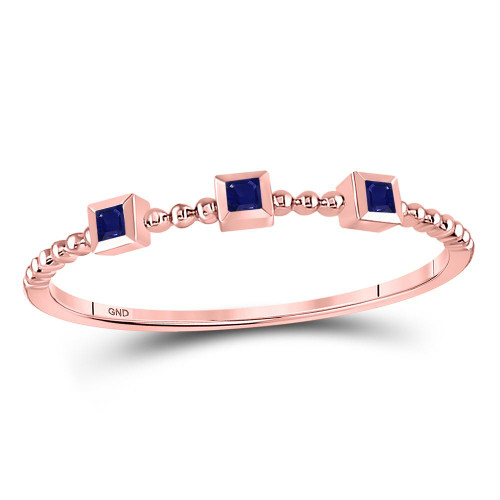 10kt Rose Gold Womens Princess Blue Sapphire 3-Stone Beaded Stackable Band Ring 1/20 Cttw