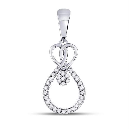 10kt White Gold Womens Round Diamond Heart Teardrop Cluster Pendant 1/10 Cttw