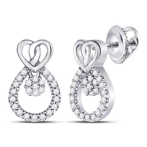 10kt White Gold Womens Round Diamond Heart Teardrop Dangle Stud Earrings 1/6 Cttw