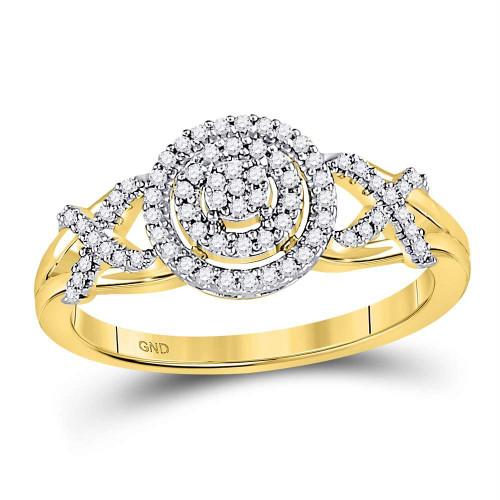 10kt Yellow Gold Womens Round Diamond Cluster Split-shank XO Ring 1/5 Cttw