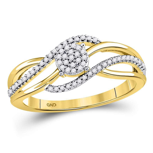 10kt Yellow Gold Womens Round Diamond Open Strand Cluster Ring 1/6 Cttw