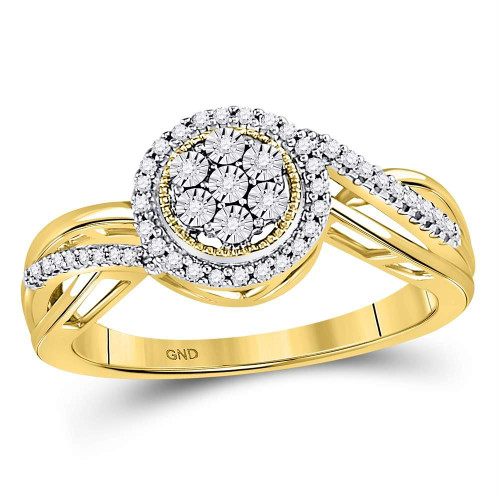 10kt Yellow Gold Womens Round Diamond Flower Cluster Ring 1/6 Cttw