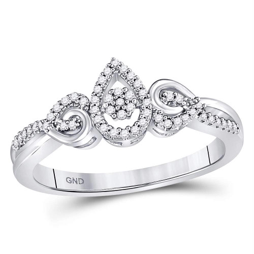 10kt White Gold Womens Round Diamond Teardrop Cluster Curl Ring 1/8 Cttw