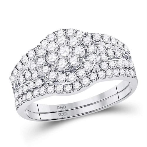 14kt White Gold Womens Round Diamond Flower Cluster Bridal Wedding Engagement Ring Band Set 1.00 Cttw - 128109