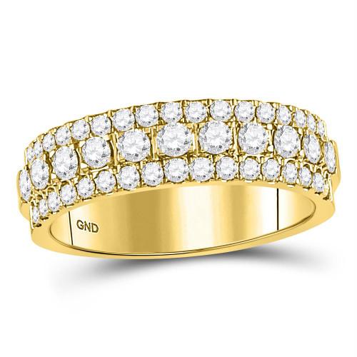 10kt Yellow Gold Womens Round Diamond Triple Row Comfort Wedding Band 1.00 Cttw
