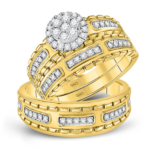 14kt Yellow Gold His & Hers Round Diamond Cluster Matching Bridal Wedding Ring Band Set 5/8 Cttw - 128187