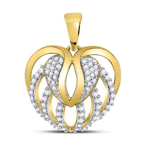 10kt Yellow Gold Womens Round Diamond Heart Open Strand Pendant 1/5 Cttw