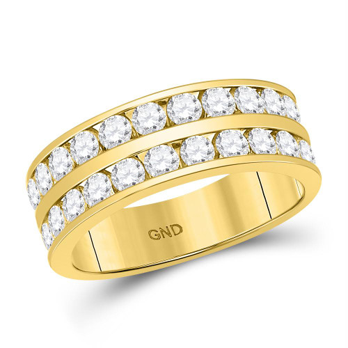 14kt Yellow Gold Mens Round Diamond Double Row Wedding Band Ring 2.00 Cttw