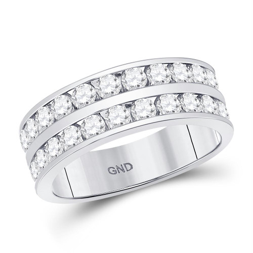 14kt White Gold Mens Round Diamond Double Row Wedding Band Ring 2.00 Cttw