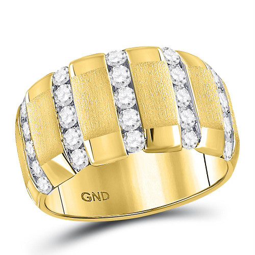 14kt Yellow Gold Mens Round Diamond Striped Matte Wedding Band Ring 1-1/2 Cttw