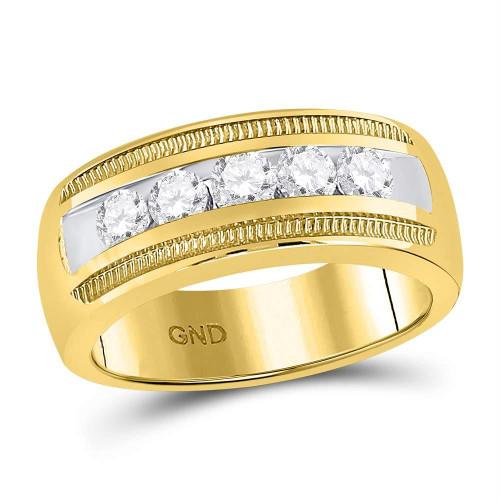 14kt Yellow Gold Mens Round Diamond Single Row Textured Wedding Band Ring 1.00 Cttw