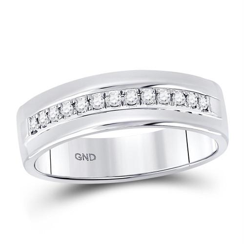 14kt White Gold Mens Round Diamond Single Row Wedding Band Ring 1/5 Cttw