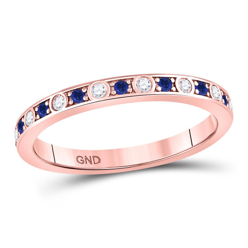10kt Rose Gold Womens Round Blue Sapphire Diamond Alternating Stackable Band Ring 1/4 Cttw