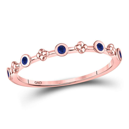 10kt Rose Gold Womens Round Blue Sapphire Dot Flower Stackable Band Ring 1/12 Cttw