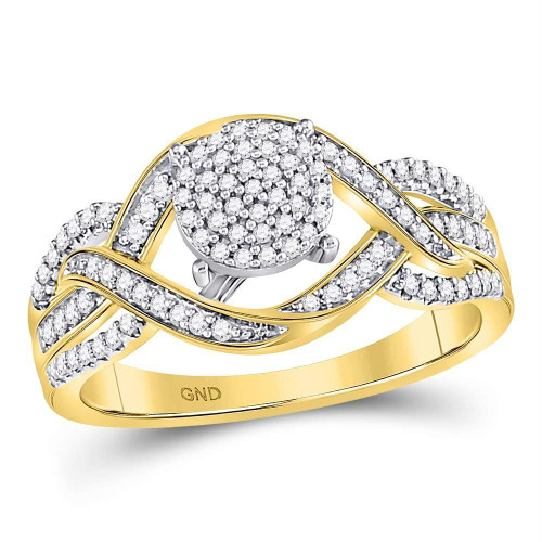 10kt Yellow Gold Womens Round Diamond Circle Cluster Twist Ring 1/4 Cttw