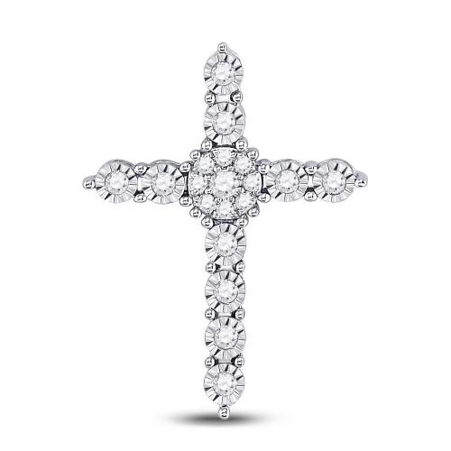 14kt White Gold Womens Round Diamond Roman Cross Faith Cluster Pendant 1/4 Cttw