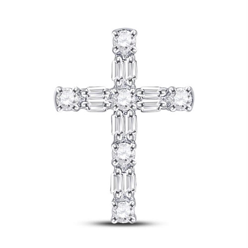 14kt White Gold Womens Round Diamond Roman Cross Faith Pendant 1/4 Cttw