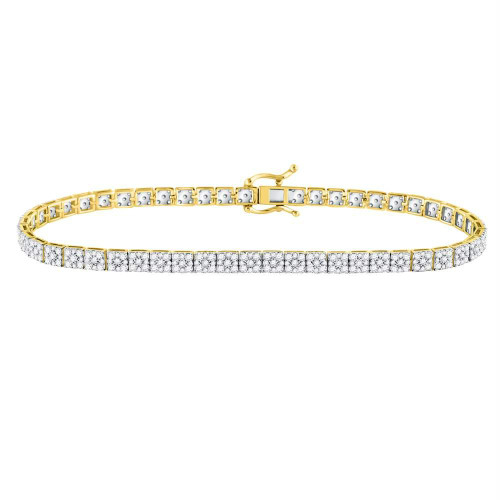 10kt Yellow Gold Mens Round Diamond Link Solitaire Bracelet 4-3/4 Cttw
