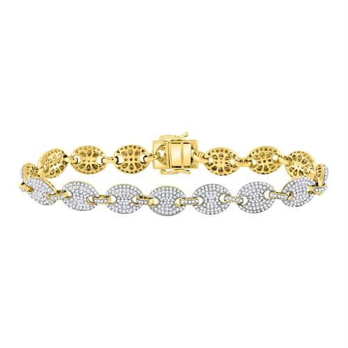 10kt Yellow Gold Mens Round Diamond Gucci Link Fashion Bracelet 6.00 Cttw