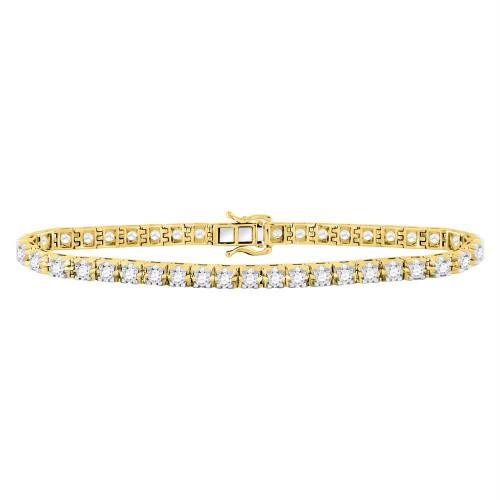 10kt Yellow Gold Womens Round Diamond Studded Tennis Bracelet 7.00 Cttw