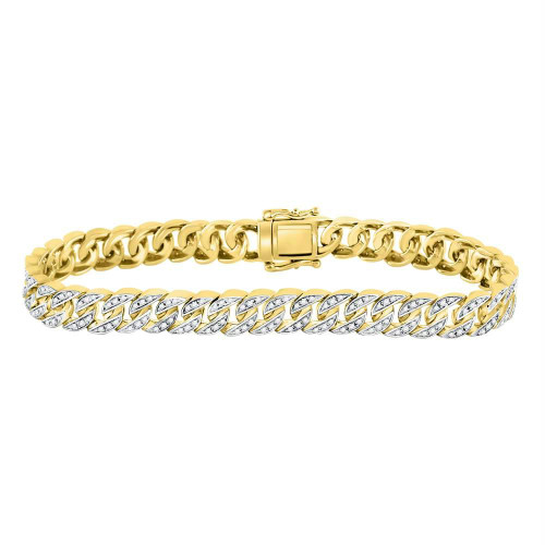 10kt Yellow Gold Mens Round Diamond Cuban Link Bracelet 1-1/2 Cttw