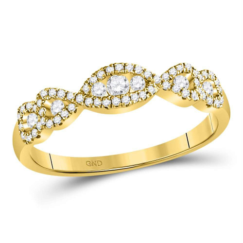 14kt Yellow Gold Womens Round 3-stone Diamond Band Ring 3/8 Cttw