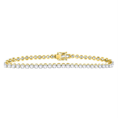 10kt Yellow Gold Mens Round Diamond Solitaire Link Tennis Bracelet 8.00 Cttw