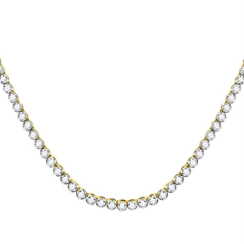 """10kt Yellow Gold Mens Round Diamond Solitaire Linked 30"""" Necklace 13-3/8 Cttw"""