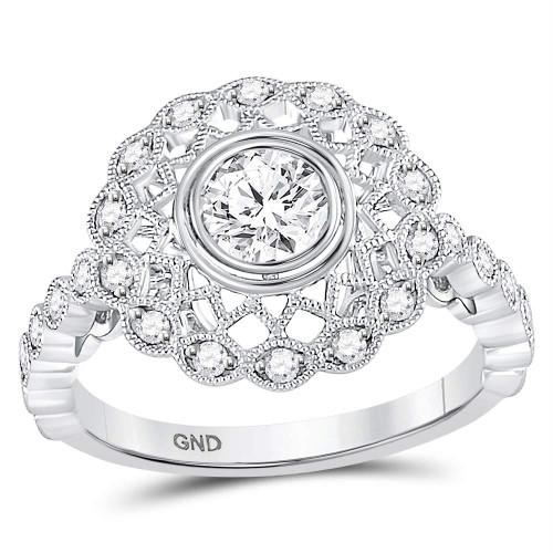 14kt White Gold Womens Round Diamond Solitaire Milgrain Bridal Wedding Engagement Ring 1.00 Cttw