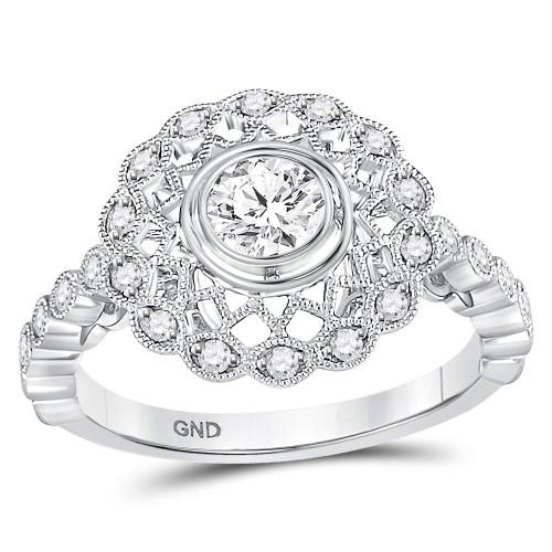 14kt White Gold Womens Round Diamond Solitaire Openwork Milgrain Bridal Wedding Engagement Ring 3/4 Cttw
