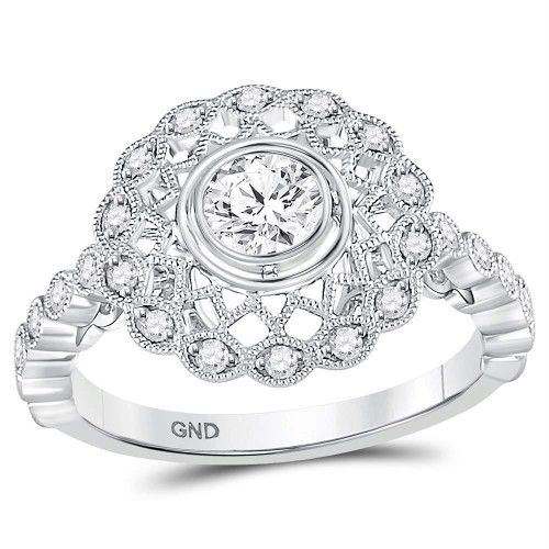 14kt White Gold Womens Round Diamond Solitaire Milgrain Bridal Wedding Engagement Ring 1/2 Cttw