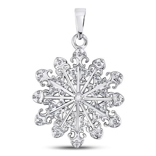 Sterling Silver Womens Round Diamond Snowflake Fashion Pendant .01 Cttw - 130089