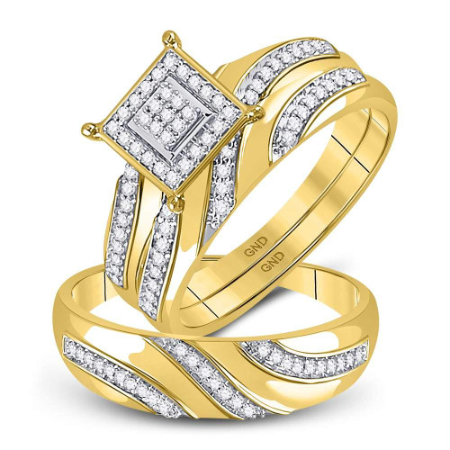 10kt Yellow Gold His & Hers Round Diamond Cluster Matching Bridal Wedding Ring Band Set 1/4 Cttw - 120696