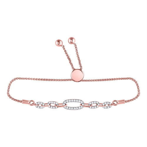 10kt Rose Gold Womens Round Diamond Oval Link Bolo Bracelet 1/3 Cttw